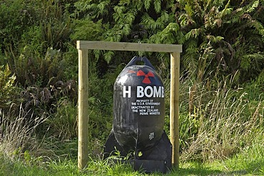 Bomb dummy which points out that NZ is an tomic free area, Gunns Camp, Holyford valley, South Island, New Zealand