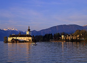 Lake palace Orth at the Traun lake, Gmunden, Upper Austria, Austria