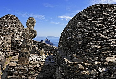 The stone houses which are built without cement and the graveyard the monk settlement which was founded 588 and was abandoned about 1100, Skellig Michael, Ireland