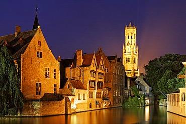 The rozenhoedkai and the Belfried, Brugge, Flanders, Belgium