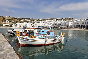 Fishing boats in the harbour, Myconos, Greece