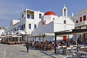 Taverns and a church at the harbour, Myconos, Greece