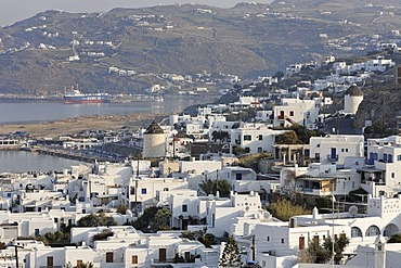 View over the Chora (old town), Myconos, Greece