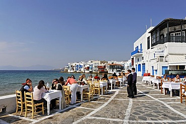 The restaurant Alefkandra with a great view to Little Venice and the sea, Myconos, Greece