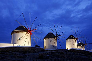 The windmills, landmark of Myconos, Greece