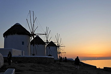 Windmills at sunset, Myconos, Greece