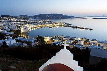 View of the old harbour and the old town of Myconos, Greece