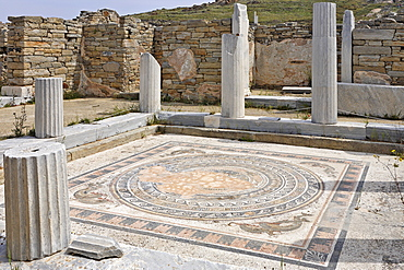 Atrium with mosaic floor in House of the Dolphins, Delos, Greece