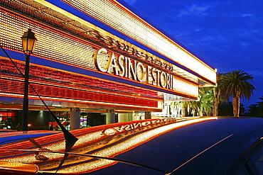 Casino Estoril at dusk, Lisbon, Portugal, Europe