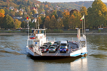 Car ferry across the River Rhine at Remagen to Linz Rhineland Palatinate Germany