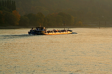 Cargo boat on the River Rhine at early morning near Remagen Rhinleand Palatinate