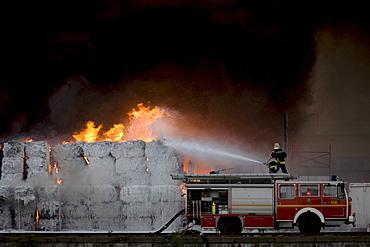 Fire at a paper warehouse, Kreuzberg, Berlin, Germany, Europe