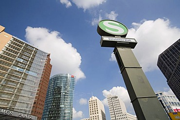 Potsdamer Platz left to right: Quartier DaimlerChrysler, Kollhoff-Tower, Bahn-Tower, Beisheim-Center, S-Bahn sign, Berlin, Germany, Europe