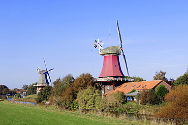 Windmills, twin windmills, Greetsiel, East Frisia, Lower Saxony, Germany, Europe
