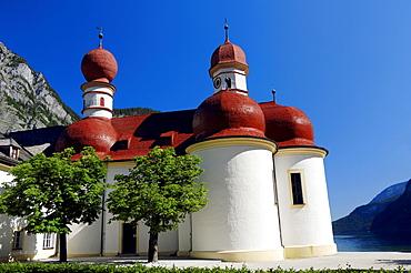 St. Bartholomew pilgrimage church, Lake Koenigssee, Berchtesgaden National Park, Bavaria, Germany, Europe