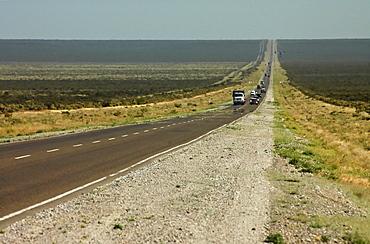 Endless roads through the seemingly infinite plane, Patagonia, Argentina