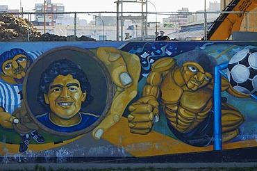 Mural depicting Diego Maradonna, in the harbour area of La Boca, Buenos Aires, Argentina.