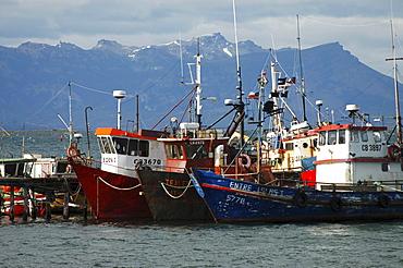 Ships in Ultima Esperanza Bay, Puerto Natales, Chile