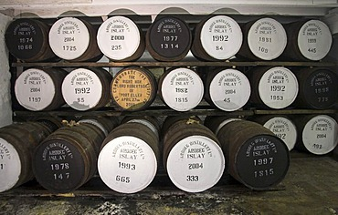Treasury of Ardbeg distillery, Isle of Islay, Scotland. Casks worth more than one million Pound Sterling.