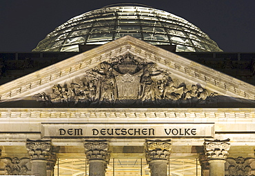 Reichstag (German parliament) building by night, Berlin, Germany
