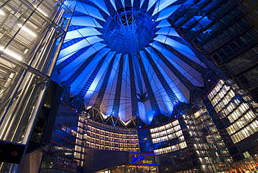 Illuminated blue roof structure, Sony Centre, Potsdamer Platz, Potsdamer Square by night, Berlin, Germany