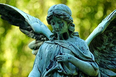 Cemetery with statue of an angel