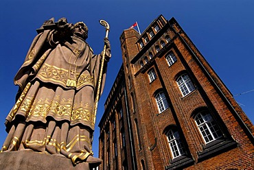Statue of St. Ansgar at Comfort bridge in Hamburg, Germany
