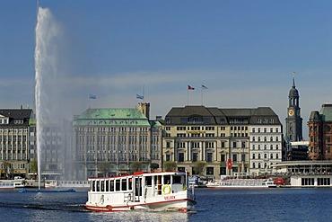 View over lake Binnenalster in Hamburg, Germany