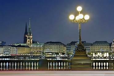 View over lake Binnenalster in Hamburg, Germany