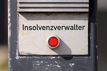 Red button with the message Insolvenzverwalter, insolvency administrator, symbolic image for insolvency, bankruptcy or business failure