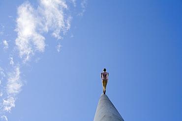 "Jonathan Borowsky's ""Man Walking to the Sky"" statue, Kassel, Hesse, Germany, Europe"