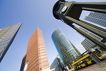 DaimlerChrysler quarter, Kohlhoff Tower, Bahn Tower and historic traffic lights, Potsdamer Platz, Berlin, Germany, Europe