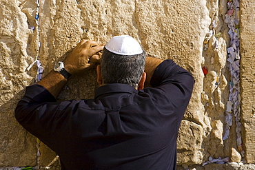 Jew praying at the Western Wall, Wailing Wall, Jerusalem, Israel, Middle East
