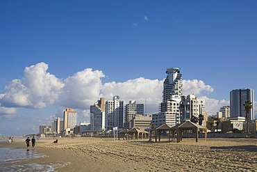 Hotels and high-rise buildings along the beach, Tel Aviv, Israel, Middle East