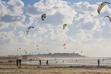Kite surfers and beach scene along the Tel Aviv beach, Israel, Middle East