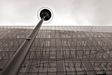 """Modern architecture, glass front and street lamp, building near the """"Reichstag"""", Berlin, Germany"""