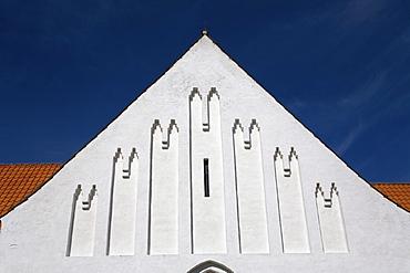 Whitewashed church gable, Rinkenaes, South Jutland, Denmark