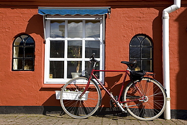Bicycle in front of a pub in Denmark