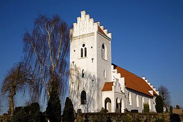 Typical Danish church with stair tower, Dybbol, South Jutland, Denmark