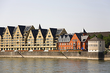Modern habitation and service centre, Rheinhaufen, Cologne, North Rhine-Westphalia, Germany, Europe