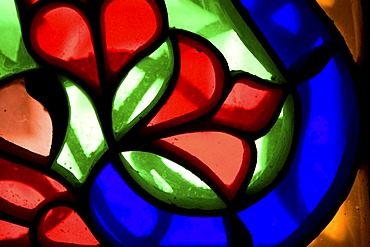 Stained glass window, flower ornaments, detail, historic centre of Sanëaí, Unesco World Heritage Site, Yemen, Middle East