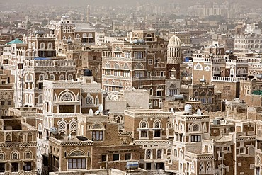 Buildings made of brick clay, historic centre of Sanëaí, UNESCO World Heritage Site, Yemen, Middle East
