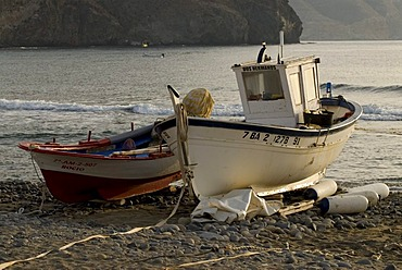Boats in soft morning light in the harbor of Las Negras, Andalusia, Spain, Europe