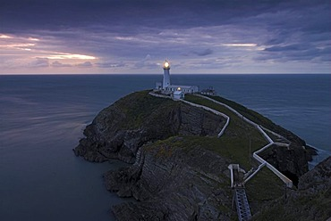 Stack Lighthouse at sunset, Anglesey, Wales, United Kingdom, Europe