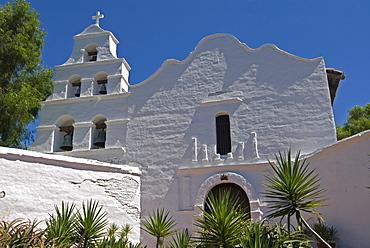Basilica, front of Mission San Diego de Alcala, San Diego, California, USA