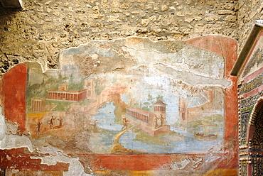 Fresco in the garden of the Fontana Picola House, Harbour of Pompei (Pompeii), Campania, Italy