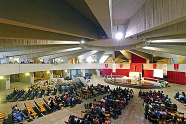Interior, Madonna delle Lacrime Church, pilgrimage site in Syracuse, Sicily, Italy