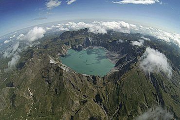Aerial view of Mount Pinatubo, resting volcano, volcanic lake, Zambales Mountains, Luzon, the Philippines, Asia