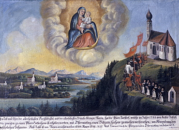 Votive image from the Ostermiething Parish, Upper Austria, from 1785, to be spared from bad weather, Maria Geburt Pilgrimage Church, Maria Eck near Siegsdorf village, Chiemgau, Upper Bavaria, Germany, Europe