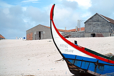 Boat on the beach in Esposende, northern Portugal, Europe